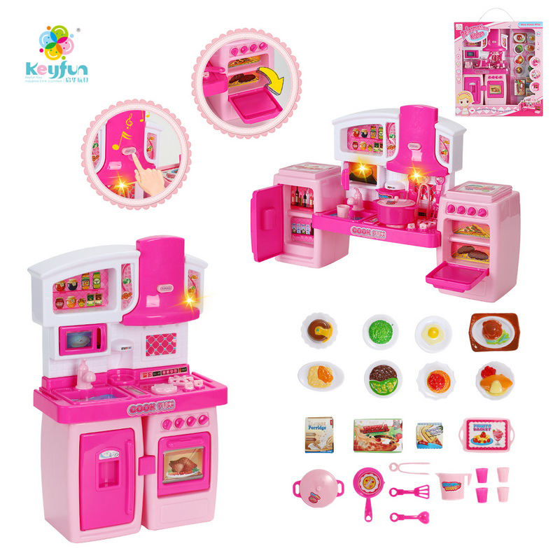 Electric plastic Kids kitchen set cooking toys tableware play set with light and sound H133161