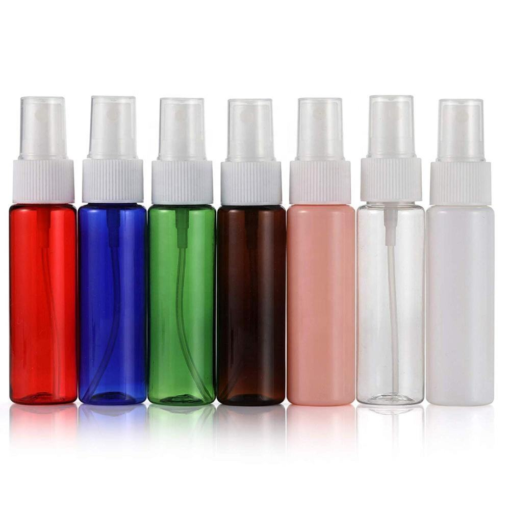 RTS 30ml Red Green Clear Brown Plastic Pump Spray Bottle For Cosmetic Fine Mist Sprayer Packaging Mini Spray Pet Bottle