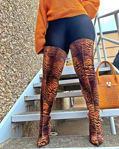 Women's boots 2020 new European and American style super high heel women's shoes leopard print knee high boots drop shipping