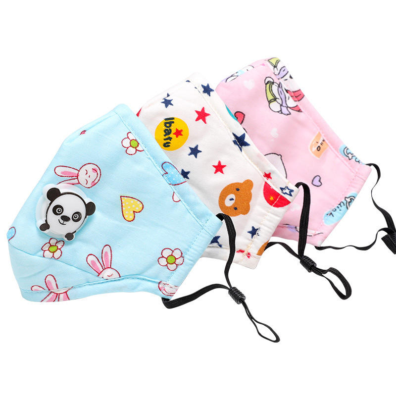 Children's Printed Breathing Valve Cotton Mouth Muffle 3 Layers Filter Kids PM2.5 Dust-proof Anti-fog Half Face Cover
