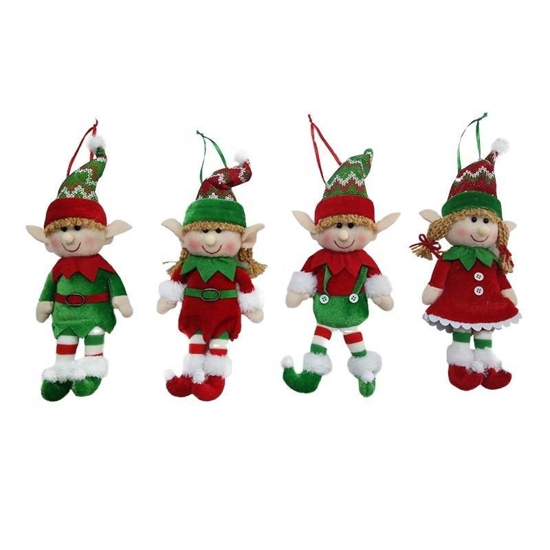 Christmas Ornament Decorating Supplies Hanging Plush Elf Doll