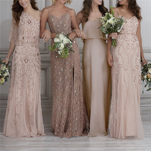 Wholesale sexy one shoulder / spaghetti strap nude long bridesmaid dress for wedding