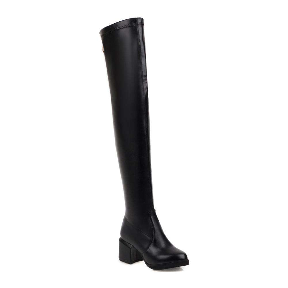 New product Women's boots 2020 winter fashion high-heeled women's shoes retro round head over the knee boots tide hot sale