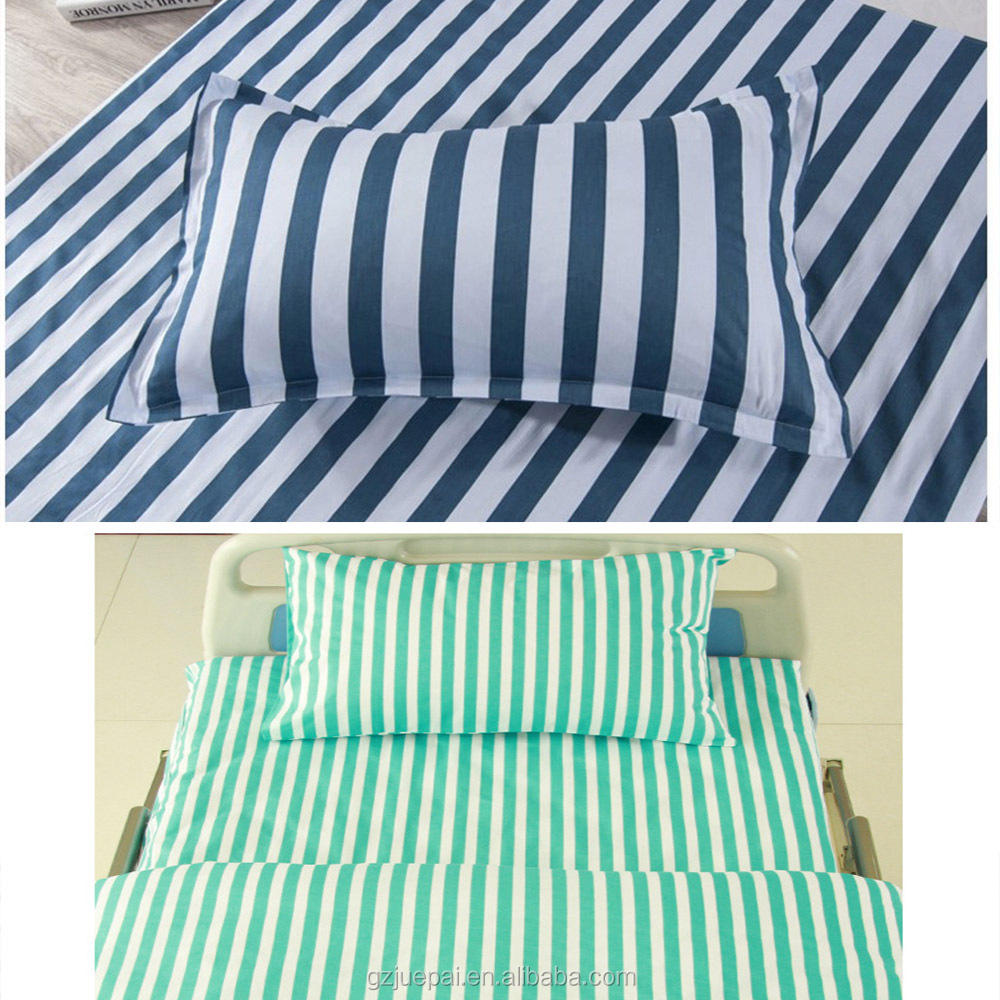 Striped bed sheet three sets for hospitals and elderly custom medical care polyester cotton and pure cotton wholesale