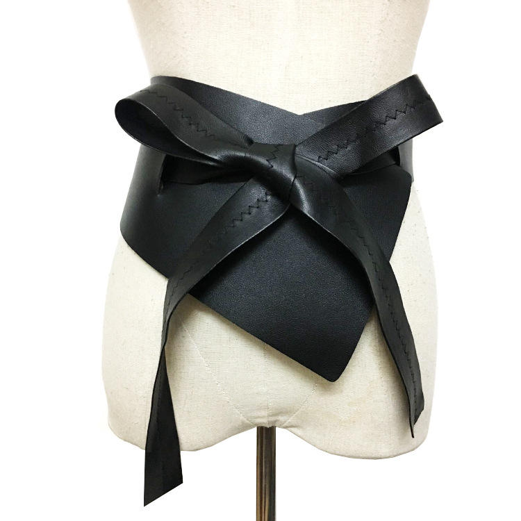 Irregular Lace Up Bow Female Belts Made of Genuine PU Leather Black Women Belt Clothing Accessories Fashi