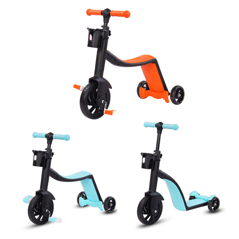 Wholesale 3 wheels multi-functional foot push kick scooters with seat for kids