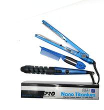 3 in 1 Dual Voltage Digital Flat Iron Pro Nano Titanium Plated Hair Straightener hair curler hair comb set
