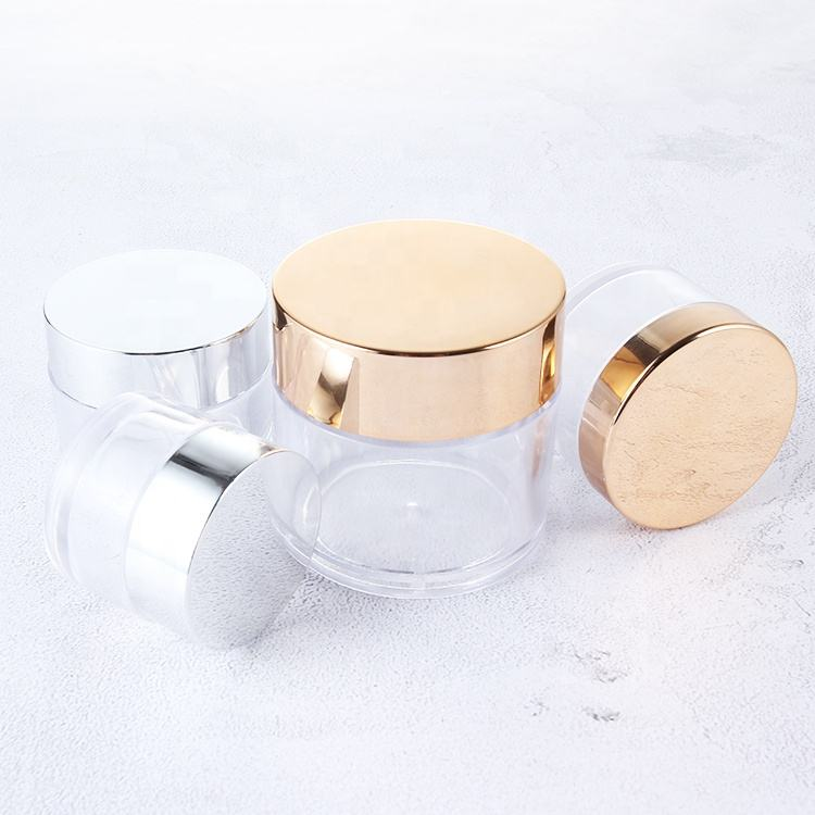 1oz 2oz 4oz Luxury Empty OEM Cosmetic Containers Biodegradable Cosmetic Packaging Plastic Cream Jar with gold lid