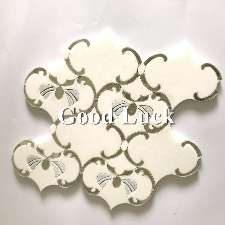 Waterjet Mirror glass mosaic tile Mickey mouse pattern floor tile