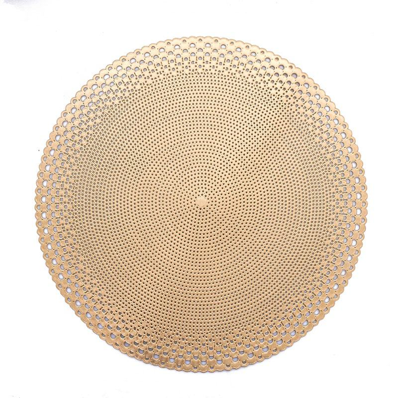 IN STOCK Factory Direct Wholesale Hollow Cut Luxury Washable PVC Round Placemats For Dining Table