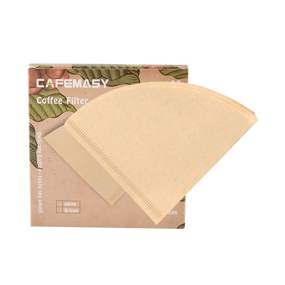 High Quality Coffee Accessories V-Type Natural Non-Bleached Coffee Filter Paper for 2-4 Cups