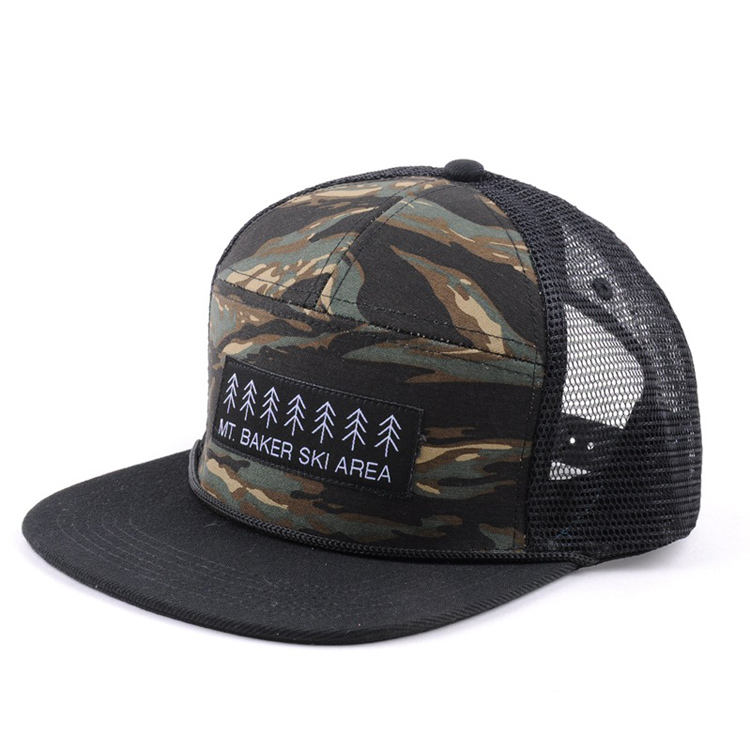 Wholesale 7 panel Print Mesh Trucker Hats Custom Patch Logo Trucker Cap wheat patches Camouflage hat