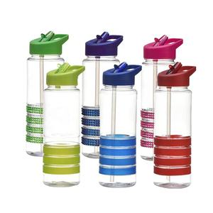 bpa free tritan promotional plastic water bottls reusable sport drinking bottles with colorful silicone band and straw
