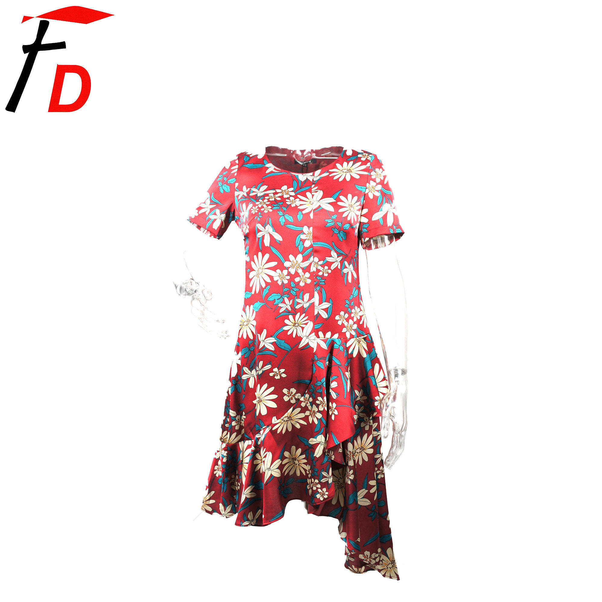 China Factory Hot Sale purplish red Office Summer CASUAL Ladies Dress Clothes