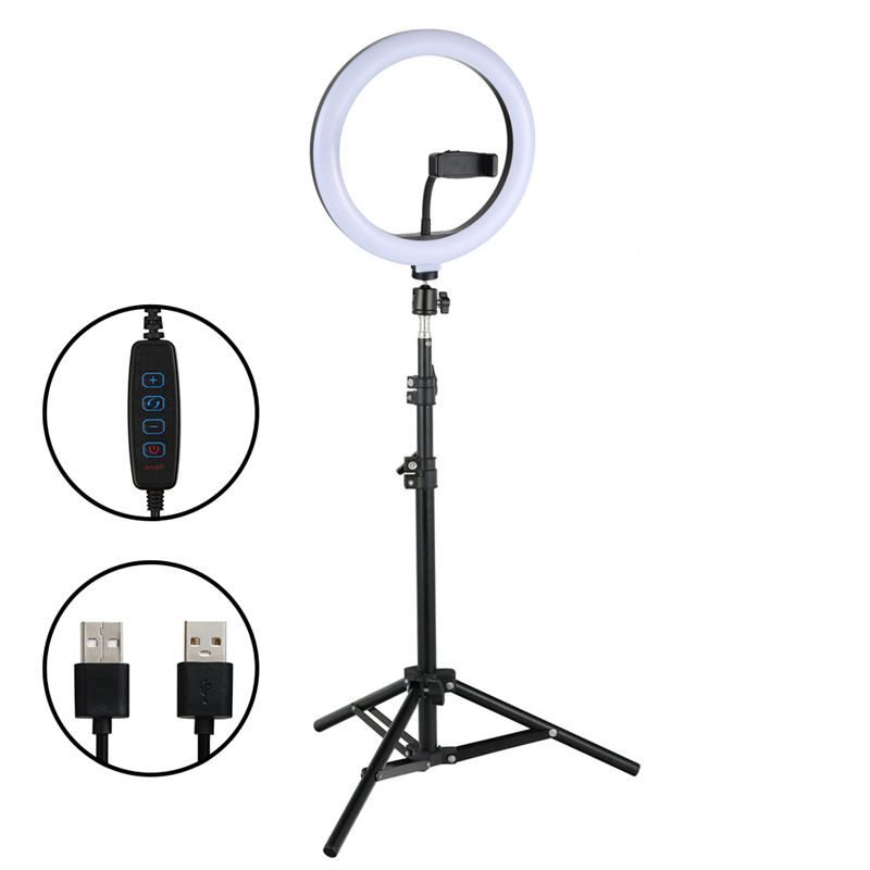 10 inch LED Ring Light with 2M Tripod Stand Cell Phone Holder for Live Stream/Makeup/YouTube Video, Dimmable Beauty Ringlight