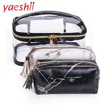 Yaeshii 2020 PVC Transparent Waterproof Makeup Box Marble Tassel Organizer Bags Women Travel Accessories Fashion Cosmetic Bag