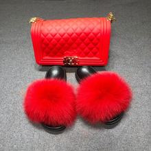 Wholesale custom colorful real raccoon fur sandals fanny pack jelly bag fox fur slides fur slippers with purse sets for women