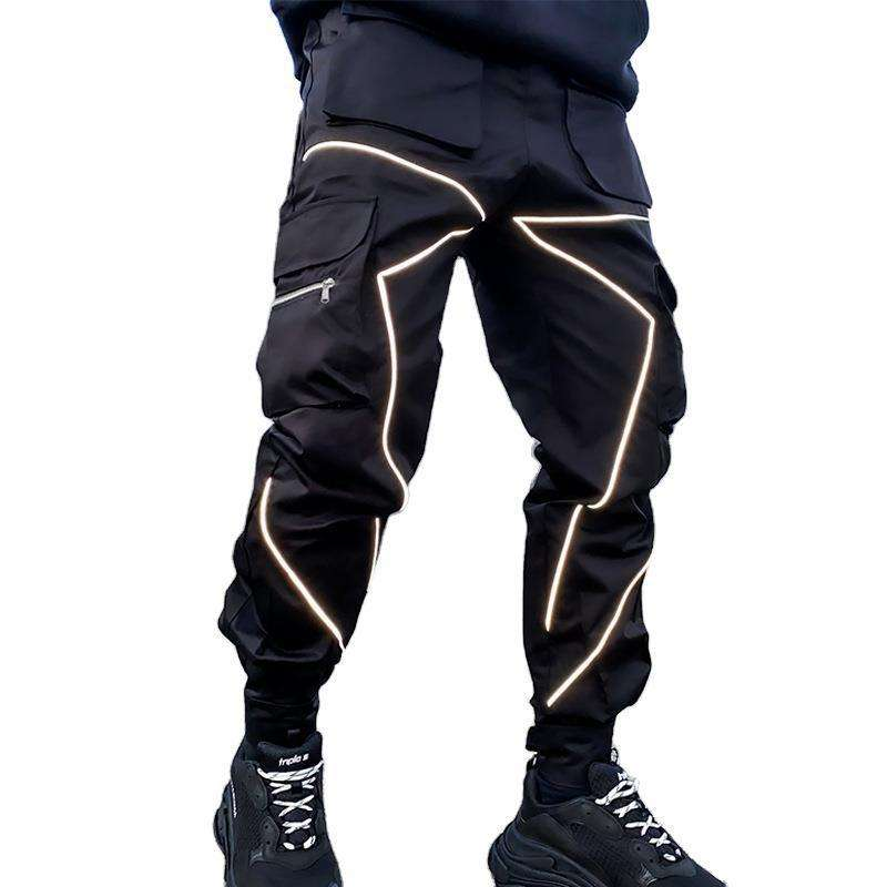 Wholesale Men's Outdoor Pants Trousers Reflective Nylon Soft Shell Lightweight Windbreaker Long Trousers For Men