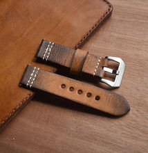 ONTHELEVEL  Handmade Genuine Cowhide Watch Strap Leather Men's Brown Vintage 22mm 24mm Thick Watch Strap Leather For Panerai