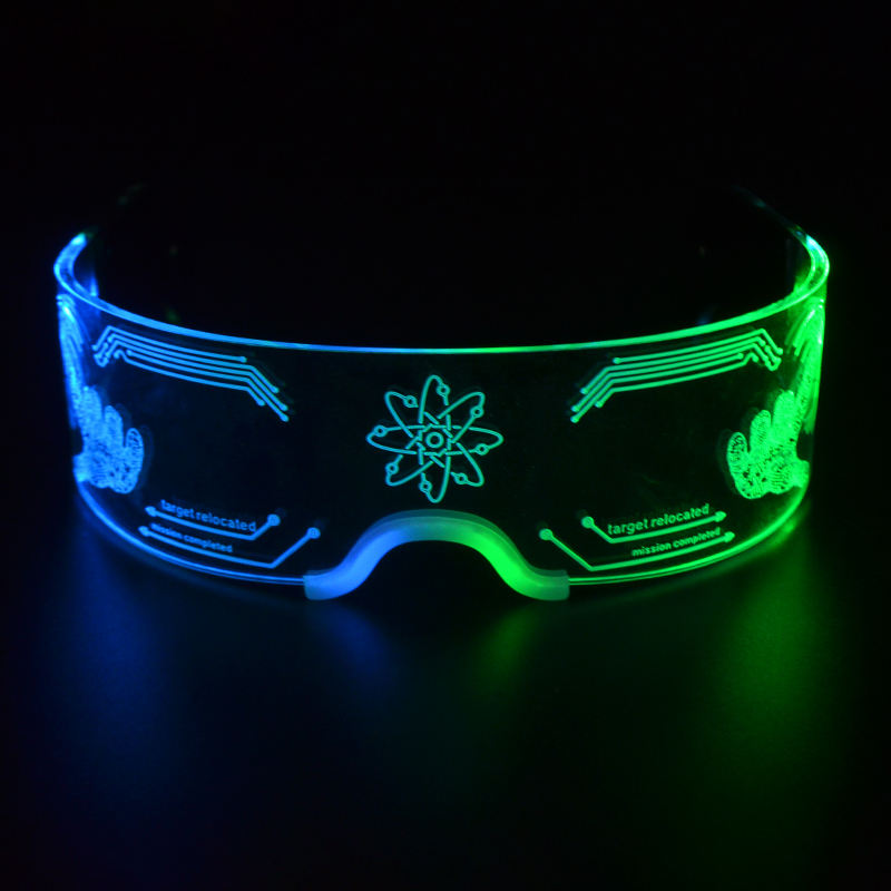 New Product SUNJET Custom Logo Flashing Acrylic Led Glasses, Light Up Sunglasses For Party