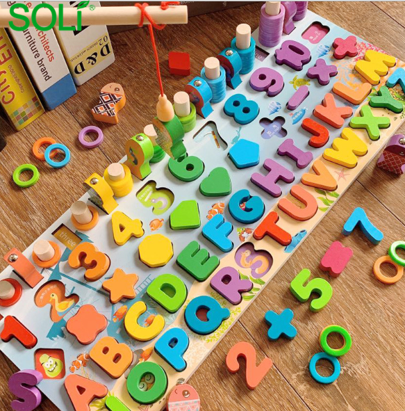2020 Latest Baby Matching Board Montessori Wooden 6 In 1 Fishing Counting Board Educational Toys Puzzle for Kids