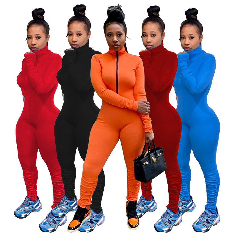 Trendy Damen bekleidung Herbst/Winter New Style Plain Color Reiß verschluss Plissee Jumps uit 2021 Damen Jumps uits und Stram pler Bodycon Jumps