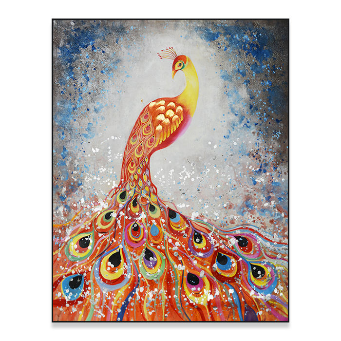 dafen 100% handmade peacock oil painting on canvas