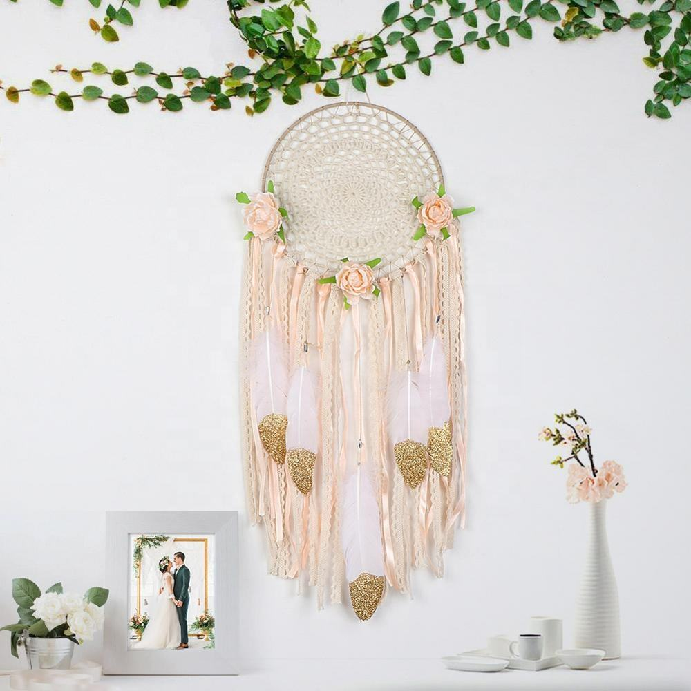 OurWarm Wall Hanging Decor DIY Hand-Woven Ornaments Dream Catcher With Feathers for Home Decoration