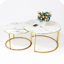 White marble top center table gold stainless steel coffee table