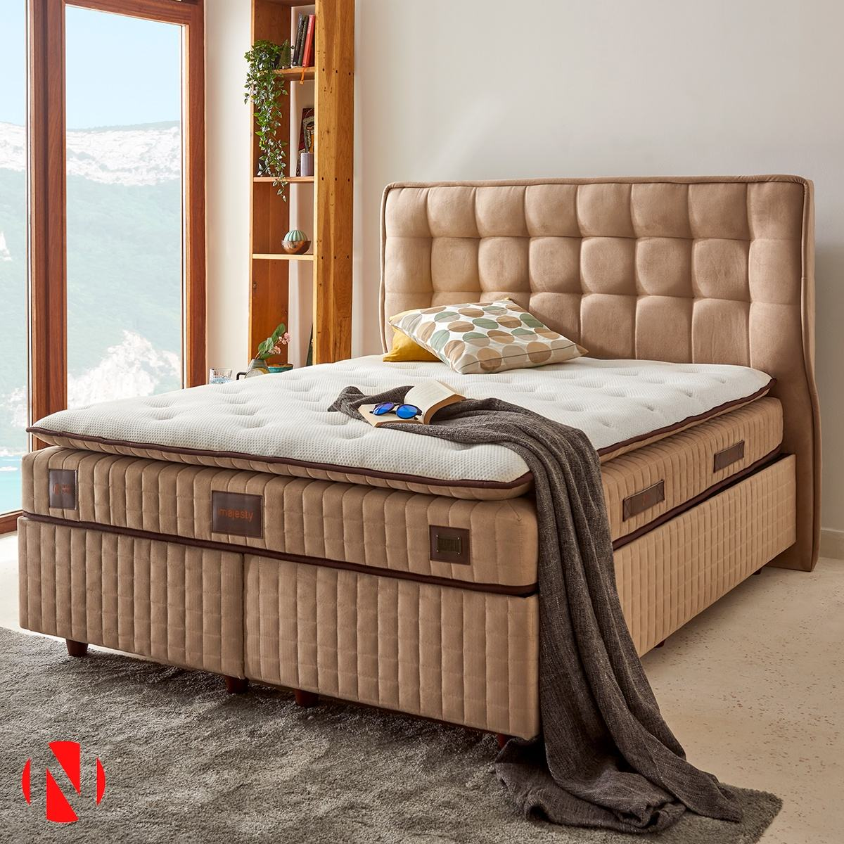 Niron Comfort MAJESTY Double Bed with 30Cm Mid-Soft Multi Sring Mattress and Pad Topping