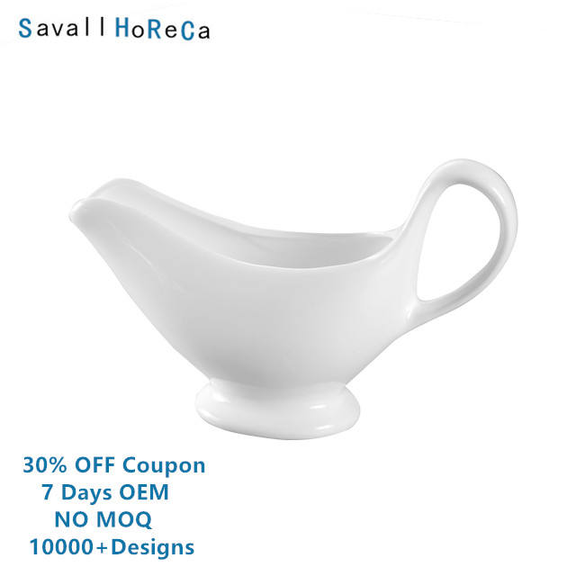 Savall HoReCa star hotel personalized bone china gravy boat ceramic custom porcelain gravy sauce boat ceramic gravy boat