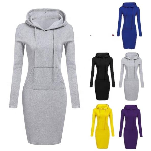 2021 fashion plain pockets pullover casual Hoodies women long sleeve hoodies dress