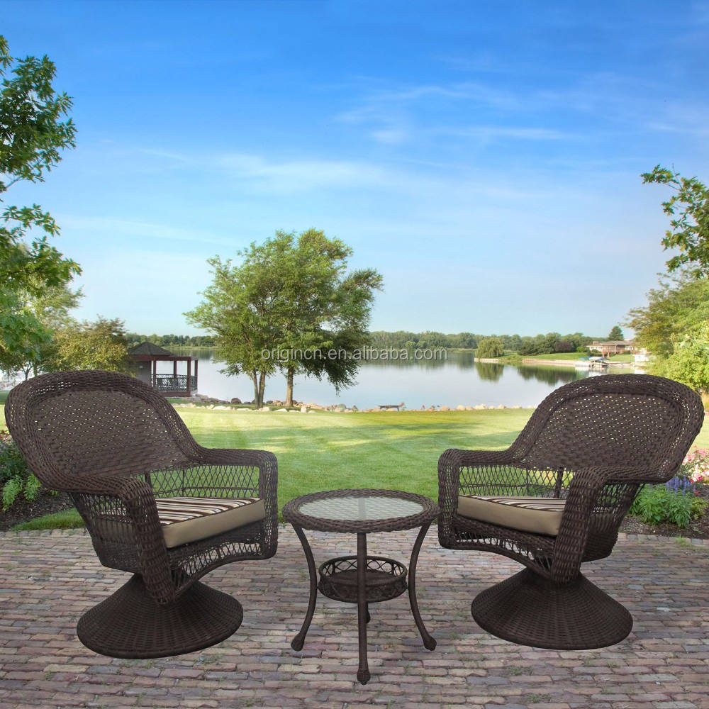3 piece antique backyard wicker wholesale bistro sets outdoor rattan furniture swivel chair