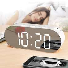 Hot sell Creativity multi-function  Digital desk clock oval  mirror alarm clock