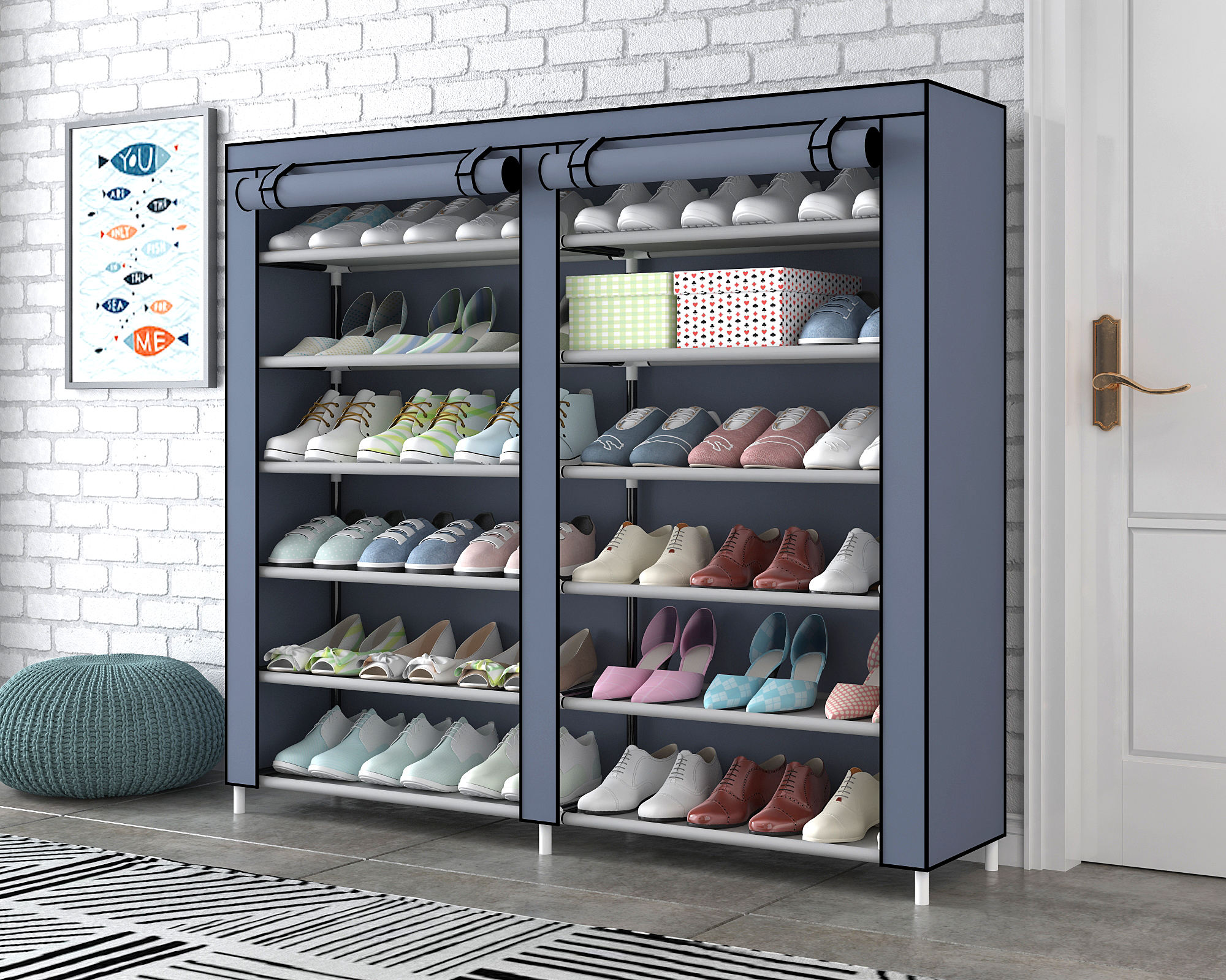 50 pair portable fabric shoe rack organizer cabinet for store steel double layer shoes foldable matel shelf for home modern