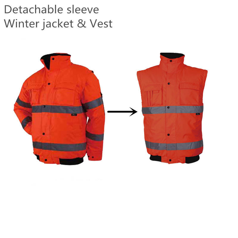Hi Vis removable sleeves Insulated Safety Bomber Jacket Coat High Visibility Reflective Jackets Orange for Working
