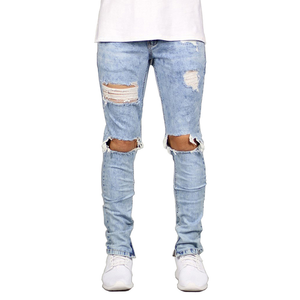 Hot selling mens ripped jeans super skinny fit distressed denim pants design light blue washed biker stretch knee hole jeans men