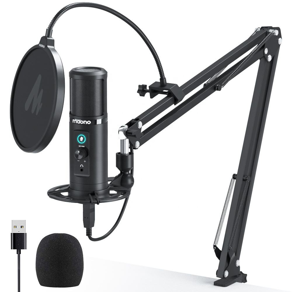 USB Microphone Zero Latency Monitoring 192KHZ/24BIT Professional Cardioid Condenser Mic with Touch Mute Button
