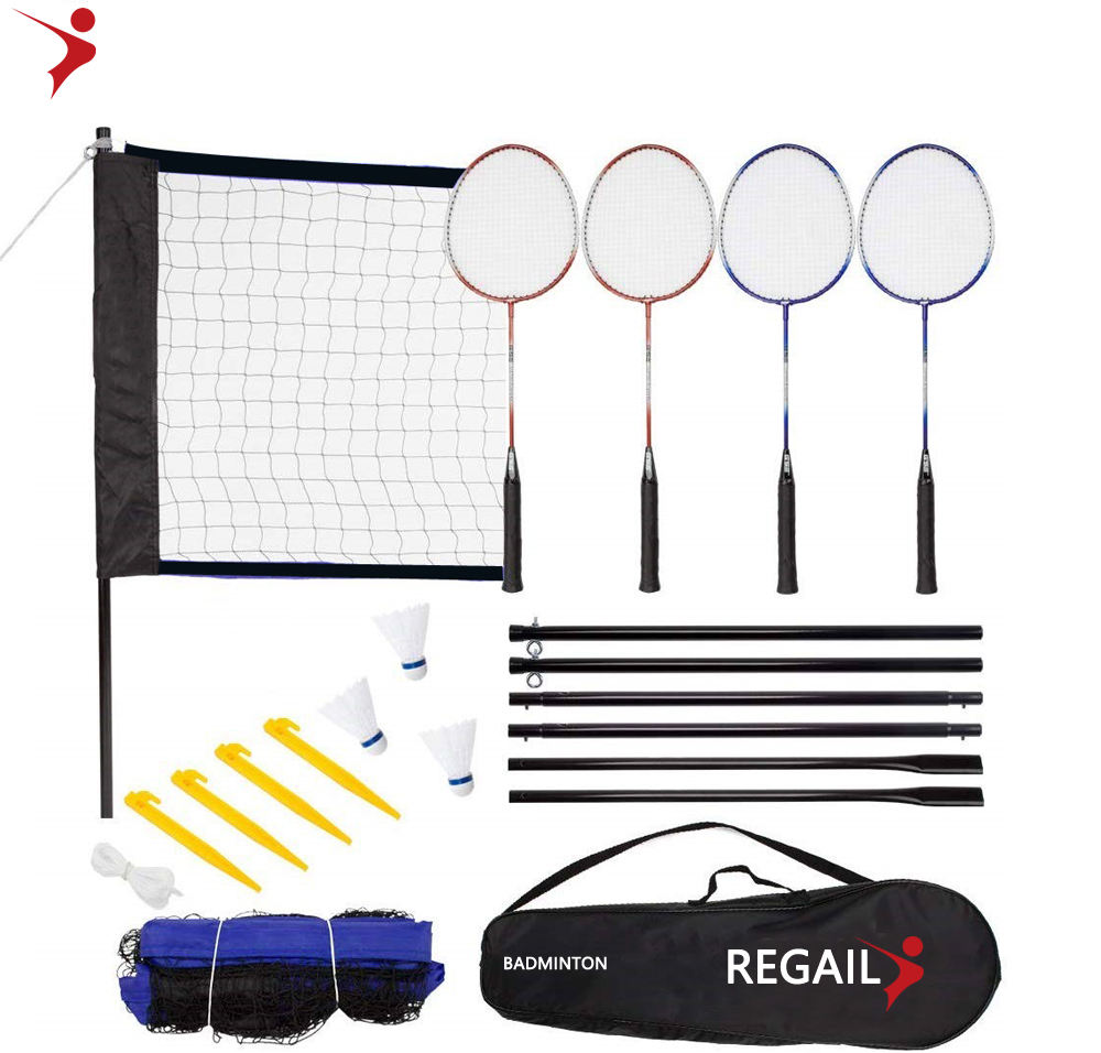 Regail 4 Player Sport Badminton Racket Set Badminton Racquet With Net/shuttcock/Volleyball/Pump for Family Fun