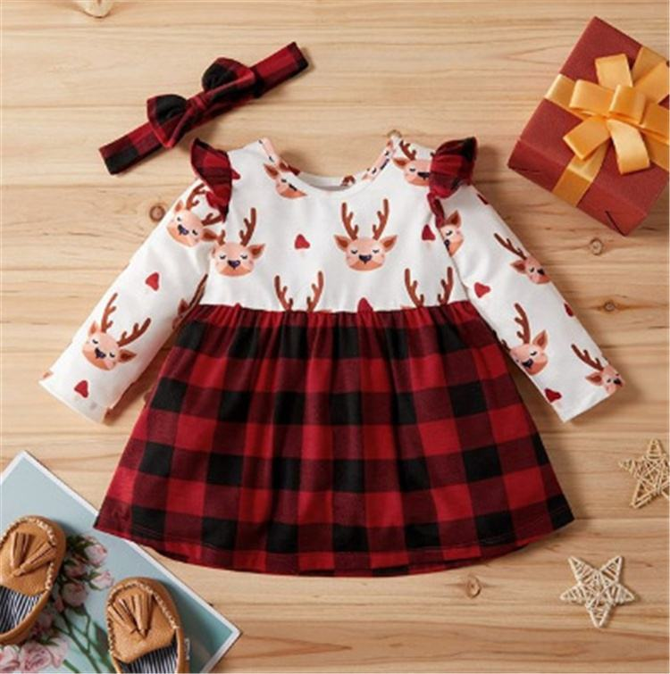 Red black plaid girls boutique clothing with headband kids princess baby girls christmas dress
