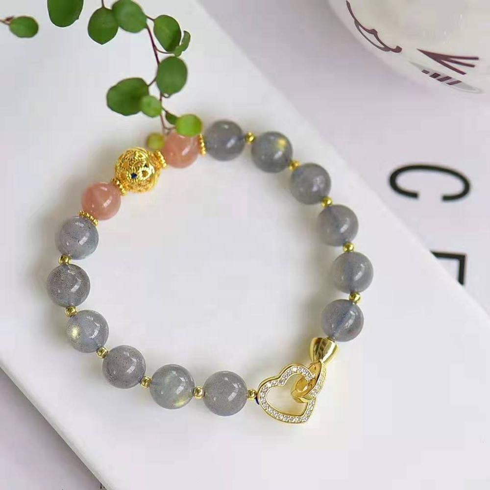 New product s925 silver gold hollowed out ball with natural 8mm crystal solar lime moonlight single circle bracelet
