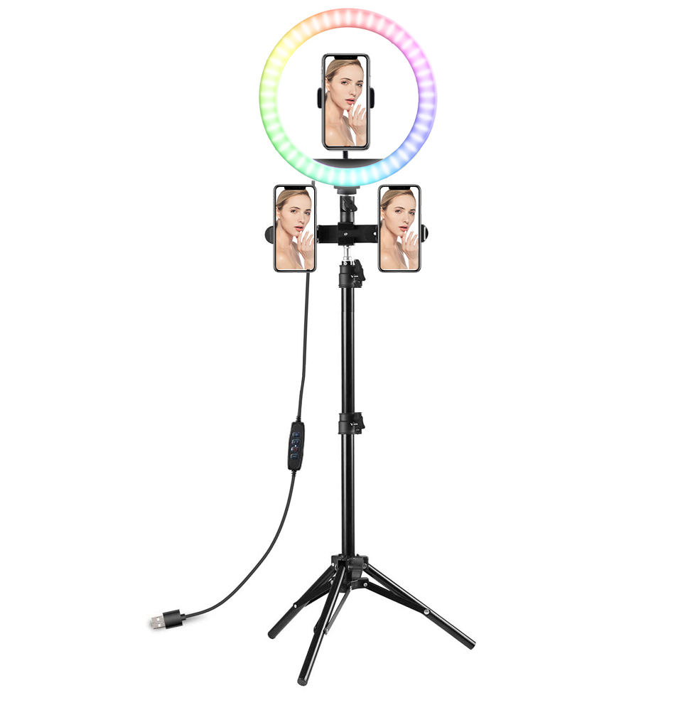 RGB Color Changing LED Ring Light Size 23/26/30/32/36CM Table/Floor Type For Live Broadcast With Adjustable Length Holder