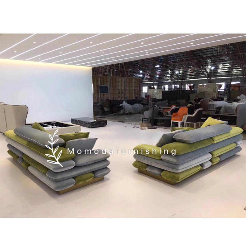 GEF Momoda special new design green grey color combination sofa set living room sofa cool shape unique sofa home furniture