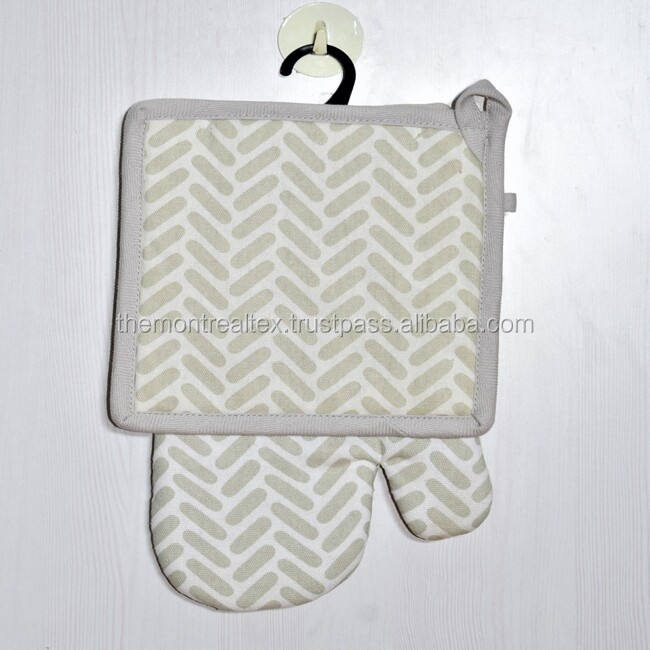 BBQ Grill Cotton Custom made Oven Mitt and Pot Holder for baking