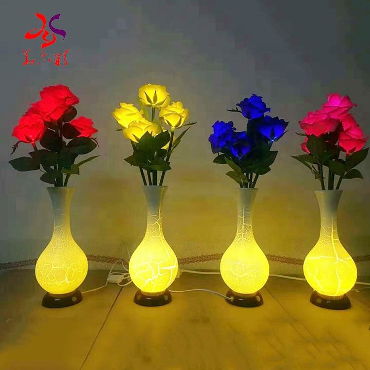 2020 new rose vase night light simulation artificial flower LED bedroom study dormitory USB interior for home decoration lamp