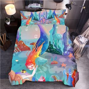 Laut Gaya Putri Duyung Printed Bedding Set Biru Duvet Cover Set Ratu King Quilt Cover Bed Linen