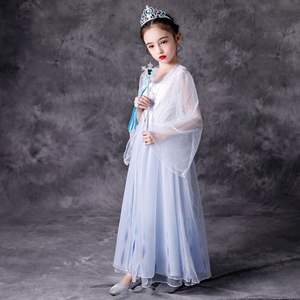 Silver & Blue Chiffon Prinses Frozen Dress Up 4T 5T Anna Barbie Jurk Elsa Tiana Kind Fee Bevroren 2 Kostuum Met Tulle Cape
