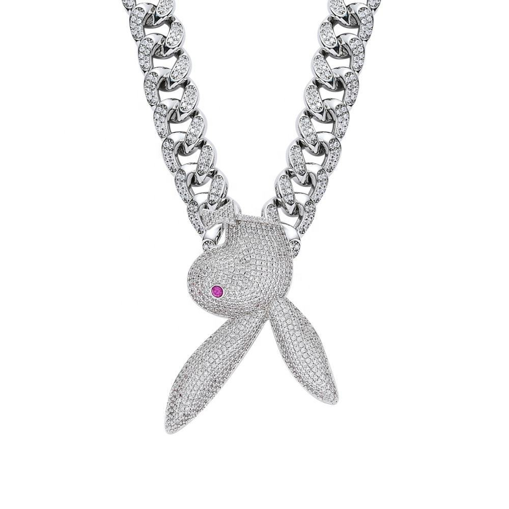 JUNLU Jewelry Rabbit Iced Out Bling Pendant Necklace Hip hop Street Culture Inlay Cubic Zirconia Necklace Fashion Jewelry Gifts