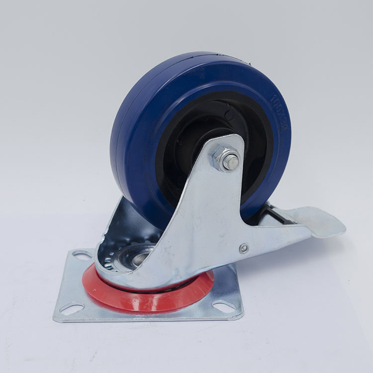 4 Inch Industrial Total Brake Caster With Blue Elastic Rubber Wheel