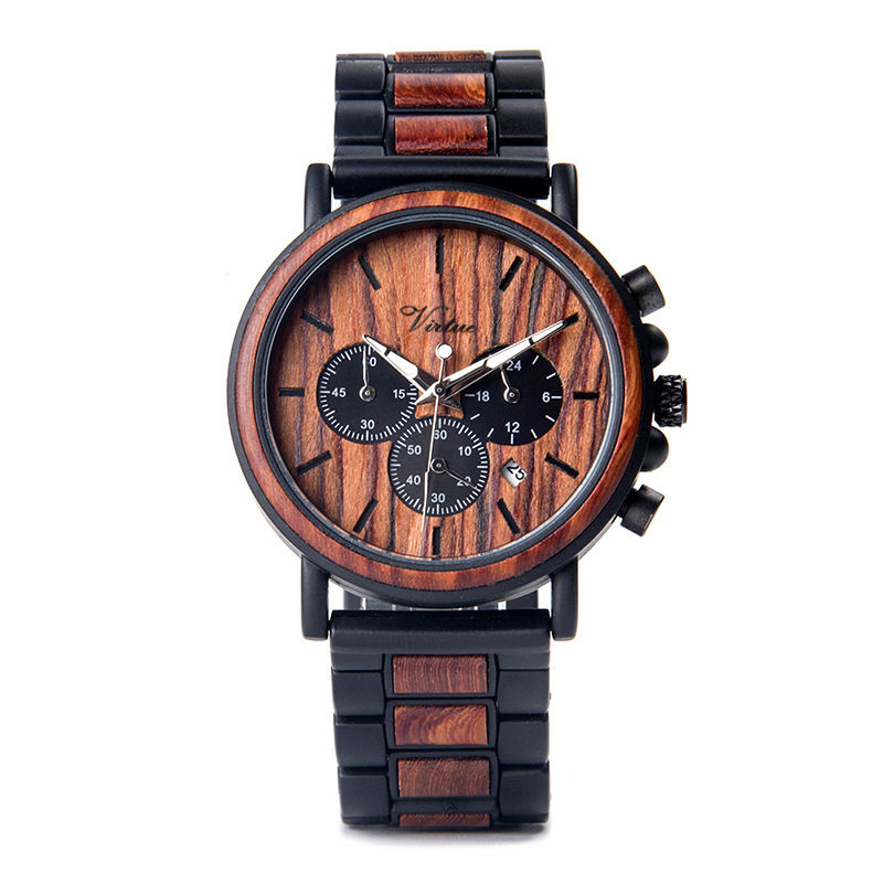Engrave Alloy Wooden Watch Chronograph Wood Watches Waterproof Men Luxury Wrist Watch Gift With Custom Logo